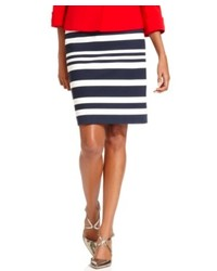 Tahari by asl striped ponte knit pencil skirt medium 134351