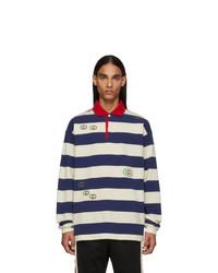 White and Navy Horizontal Striped Polo Neck Sweater