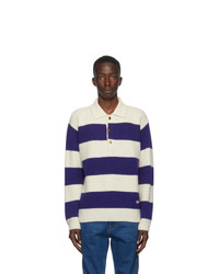 Gucci Blue And White Wool Polo Sweater