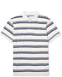 White and Navy Horizontal Striped Polo