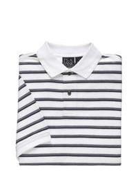 Jos. A. Bank Traveler Striped Short Sleeve Pique Polo Whitenavy Double Stripe By Dress Shirt