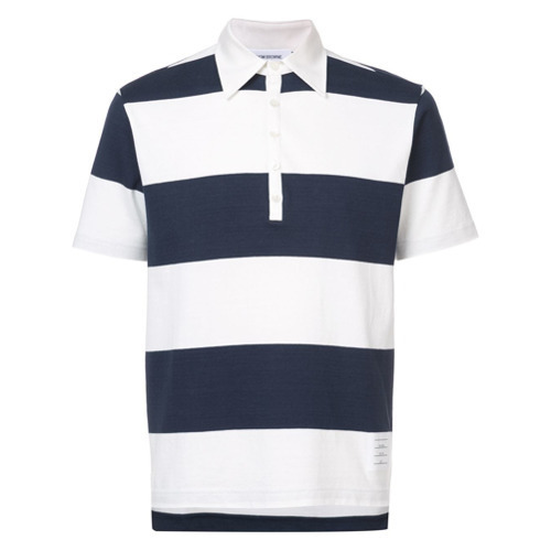 ef655dc5ce8 ... Polos Thom Browne Short Sleeve Polo With 4 Bar Stripe In Blue And White  Rugby Stripe ...