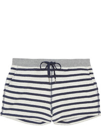 Alexander Wang T By Striped Cotton Terry Shorts