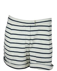 Tory Burch Striped Cuffed Cotton Shorts