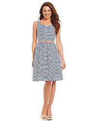 Jessica howard stripe print fit and flare dress medium 277107