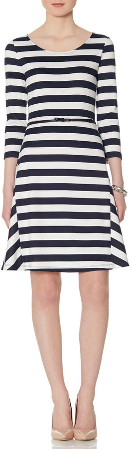 The Limited Striped Bow Belt Skater Dress