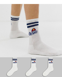 Ellesse Pullo 3 Pack Socks In White