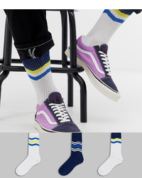 ASOS DESIGN Sports Socks With Yellow And Blue Chevron Design 3 Pack