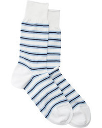Barneys New York Tricolor Stripe Mid Calf Socks