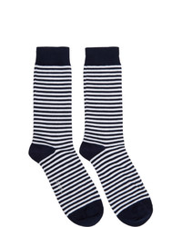 Sunspel White And Navy Stripe Socks