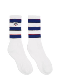 Noah NYC White Three Stripe Socks