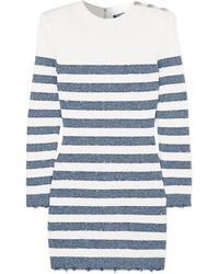 Balmain Button Embellished Sequined Striped Stretch Knit Mini Dress
