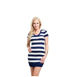 G2 Chic Basic Striped V Neck Knit Sweater Dress