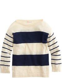White and Navy Horizontal Striped Sweater