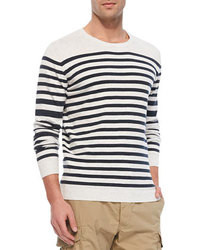 White and Navy Horizontal Striped Sweater | Men's Fashion