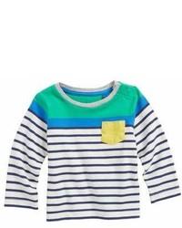 White and Navy Horizontal Striped T-shirt