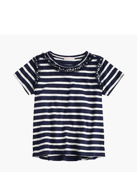 White and Navy Horizontal Striped T-shirt