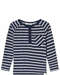 Ebbe Kids Navy And Grey Stripe Long Sleeve T Shirt