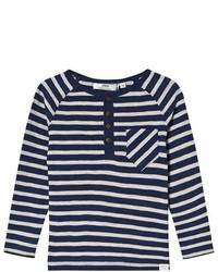 Ebbe Kids Navy And Grey Stripe Long Sleeve T Shirt