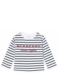 Burberry Navy And White Mini Peggy Stripe T Shirt