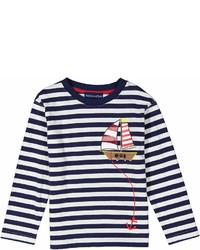 Navy Boat Applique Stripe Long Sleeve Tee Infant