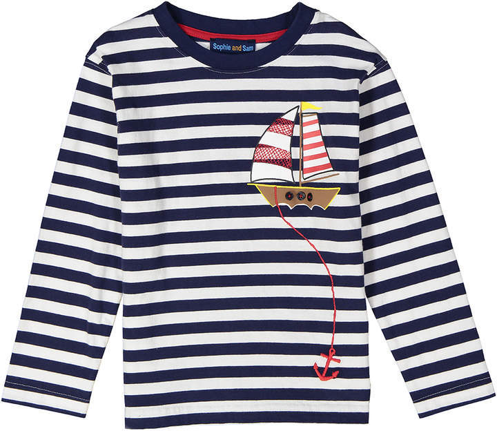 Navy Boat Applique Stripe Long Sleeve Tee Infant
