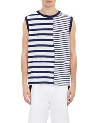 White and Navy Horizontal Striped Tank