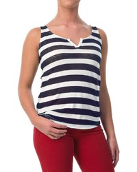Specially Made Striped Tank Top Cotton Linen