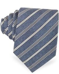 Forzieri Navy Blue White Stripe Woven Silk Tie