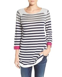 White and Navy Horizontal Striped Tunic