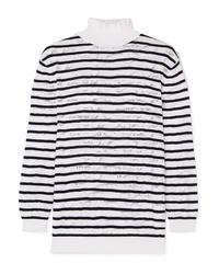Chloé Striped Cotton Blend Lace Turtleneck Sweater