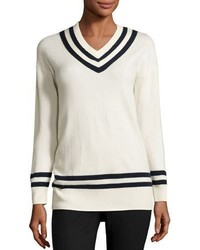 Varsity v neck sweater blancnavy medium 3650318