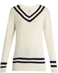 Varsity v neck wool and cashmere blend sweater medium 3650319