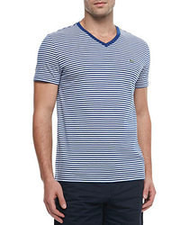 White and Navy Horizontal Striped V-neck T-shirt