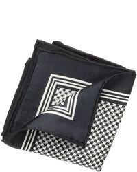 White and Navy Houndstooth Pocket Square