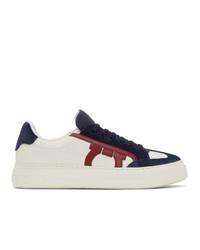 Salvatore Ferragamo White And Blue Giancini Sneakers
