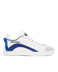 DSQUARED2 White And Blue Lace Up Sneakers