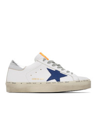 Golden Goose White And Navy Hi Star Sneakers