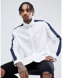 ASOS DESIGN Regular Fit Cut And Sew Shirt With Tape Detail