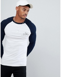 0ed86cfb ... ASOS DESIGN Long Sleeve T Shirt With Contrast Sleeves And Chicago Chest  Print