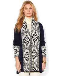 White and Navy Open Cardigan