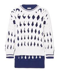 Sonia Rykiel Oversized Two Tone Macram Wool Blend Sweater