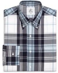 White and Navy Plaid Dress Shirt