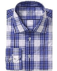 White and Navy Plaid Long Sleeve Shirt
