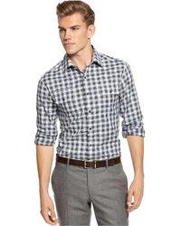 Long sleeve slim fit plaid dress shirt medium 19301