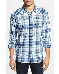 Lucky Brand Hammond Plaid Poplin Western Shirt Navy Plaid Large