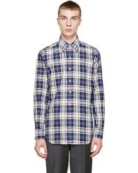 Thom Browne Navy Grey Plaid Shirt