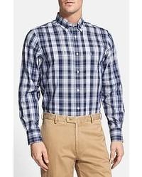 Nordstrom Check Regular Fit Sport Shirt Navy String Plaid Small