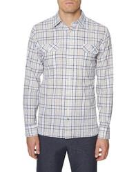 Hickey Freeman Seersucker Bedford Plaid Button Up Shirt