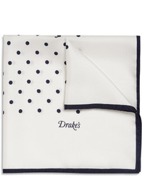 White and Navy Pocket Square